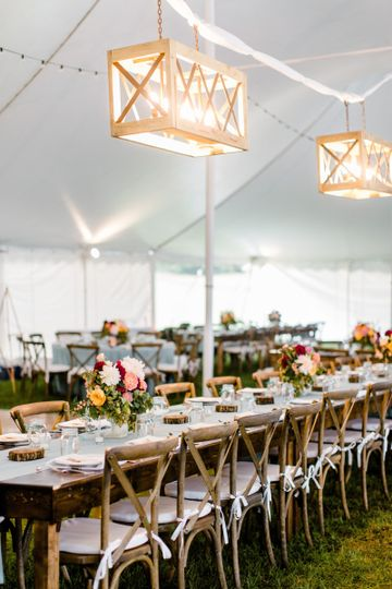 Rustic reception setup