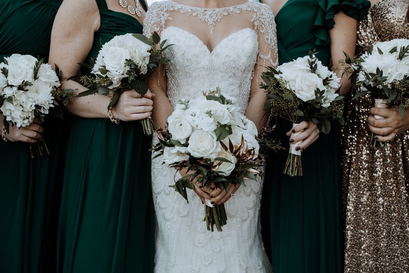 White matching bouquets