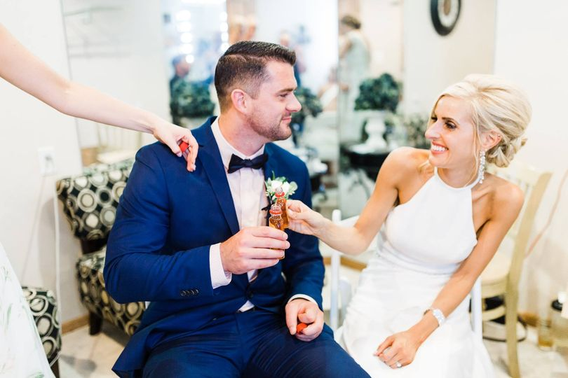 Cheers in the bridal room