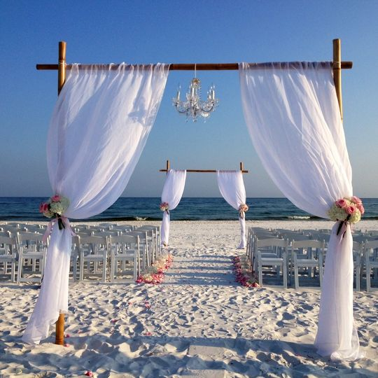 Beach wedding ceremony set-up