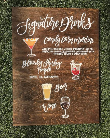 Wood Signature Drink sign