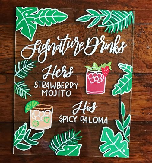Tropical signature drink sign