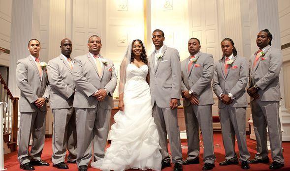 Newlyweds and the groomsmen