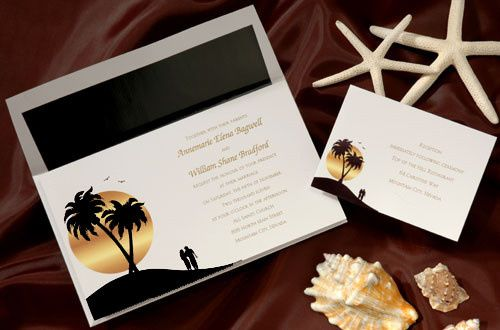 Tropical beach wedding invitations.This contemporary bright white wedding invitation with black and...