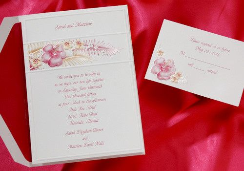 Summer wedding invitations tropical flowers. Your names are featured at the top of this vibrant...