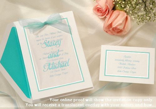 Summer wedding invitations in aqua blue. A stunning, sheer aqua bow is included with this overlay...