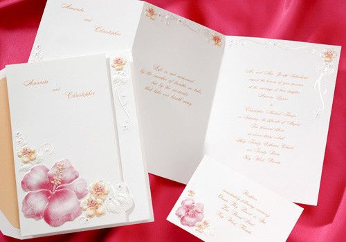 Summer wedding invitations hot pink flowers Perfect for your destination wedding! Groups of hot pink...