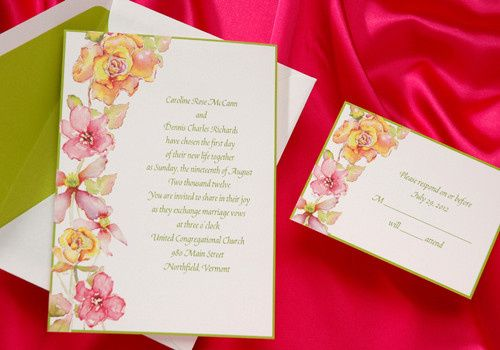 Bright tropical flowers and kiwi green border summer wedding invitations. Watercolor flowers adorn...