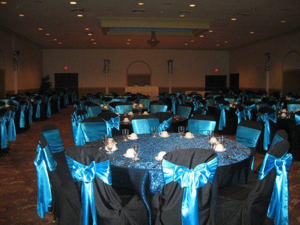 black standard chair cover w/ aqua blue satin sash
