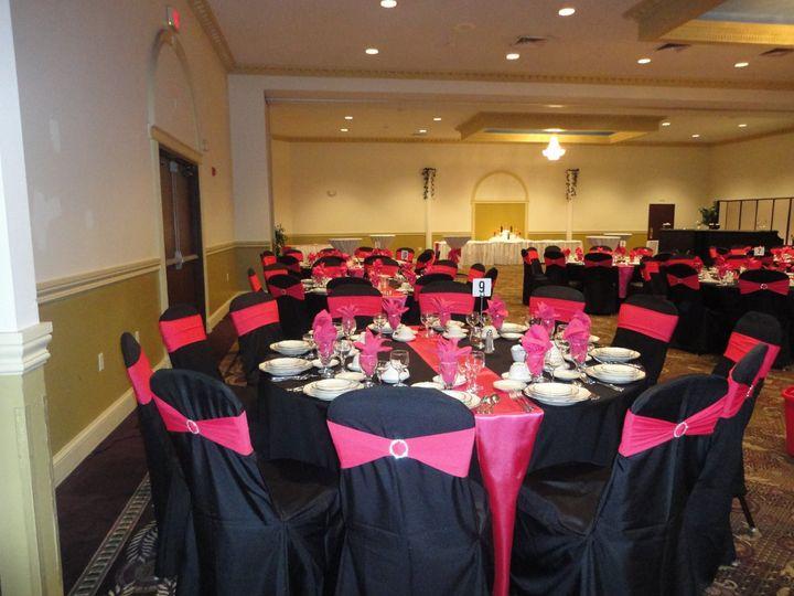 Tmx 1364243720620 Blackchaircoverswithfusciarhinestonebands003 North Tonawanda wedding rental