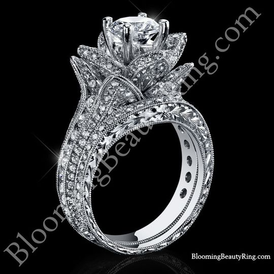 Unique engagement rings jewelry los angeles ca weddingwire 800x800 1398780732016 167 ctw small hand engraved blooming beauty weddin junglespirit Image collections