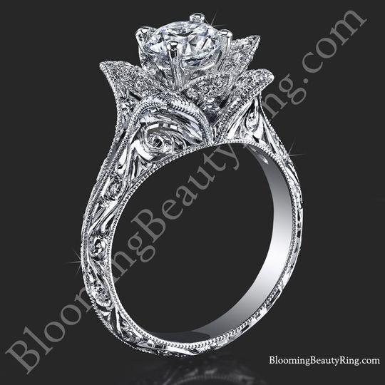hand engraved 8 petal 58 ct diamond lotus flower