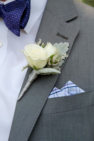 Grey suit and boutonniere