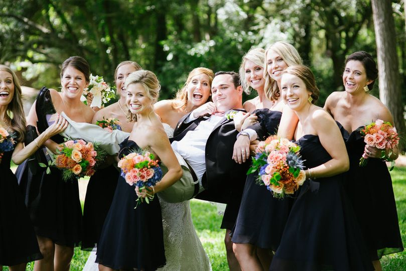 Wedding party and flowers