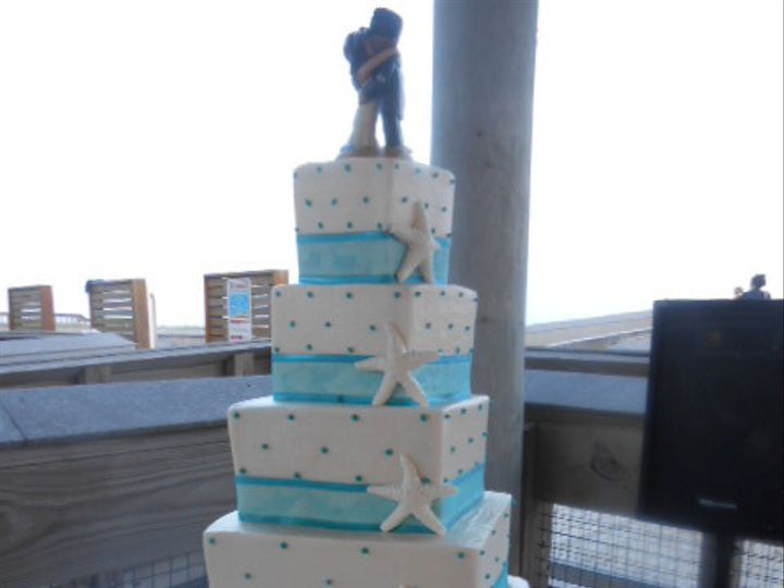 Tmx 1440034613657 Starfish 4 Tier Square With Aqua Dots Destin, FL wedding cake
