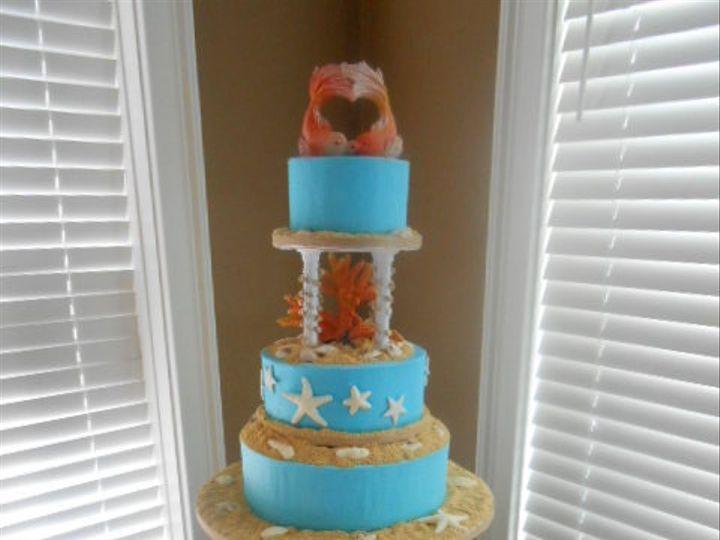 Tmx 1458601019059 Kissing Fish On A Barrel Melissas Dream Destin, FL wedding cake