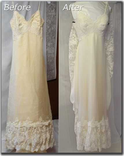 Janet davis cleaners wedding dress cleaning for Restoring old wedding dresses