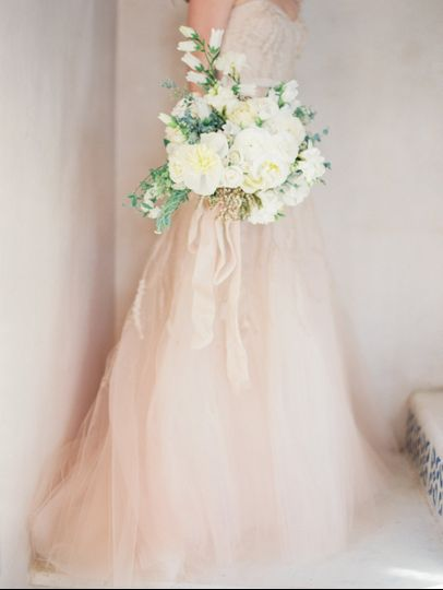 Gown and bouquet
