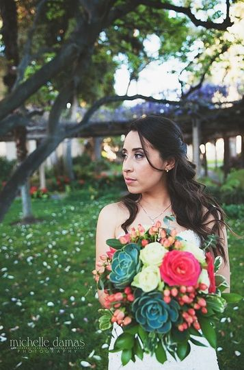 Pretty girl with bouquet