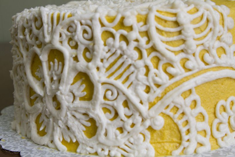 Closeup of piping details on Henna-Lace cake