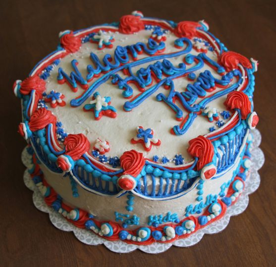 Welcome Home Cake - Marble cake, vanilla buttercream. This cake was done completely with...