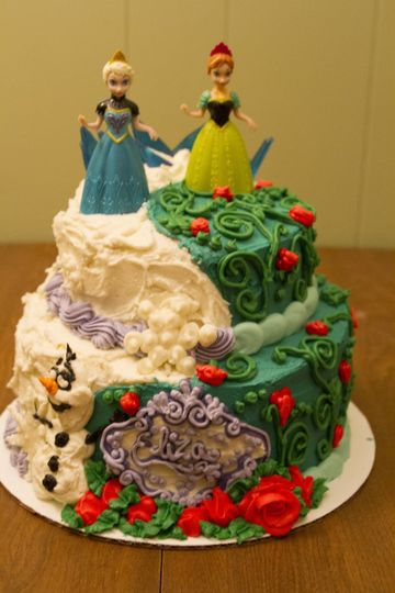 """Disney's """"Frozen"""" Tiered Cake - A special request from a friend to showcase these dolls she bought..."""