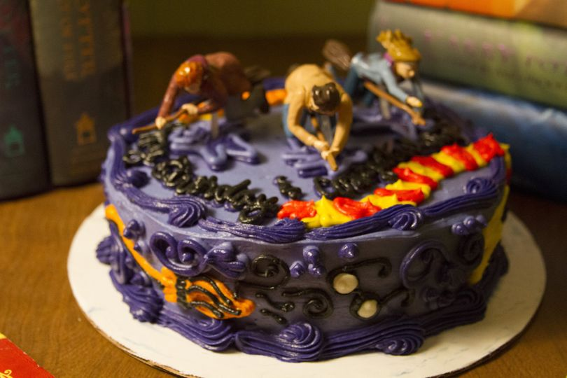 Harry Potter Cake - Using figures found online - Sweet almond white cake with almond buttercream