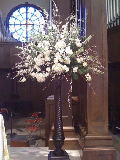 Altar arrangement for March Wedding at St George's