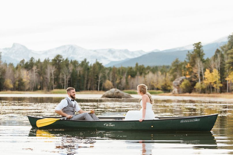 "Bride and groom canoeing on their wedding day. Very ""The Notebook"" like!"