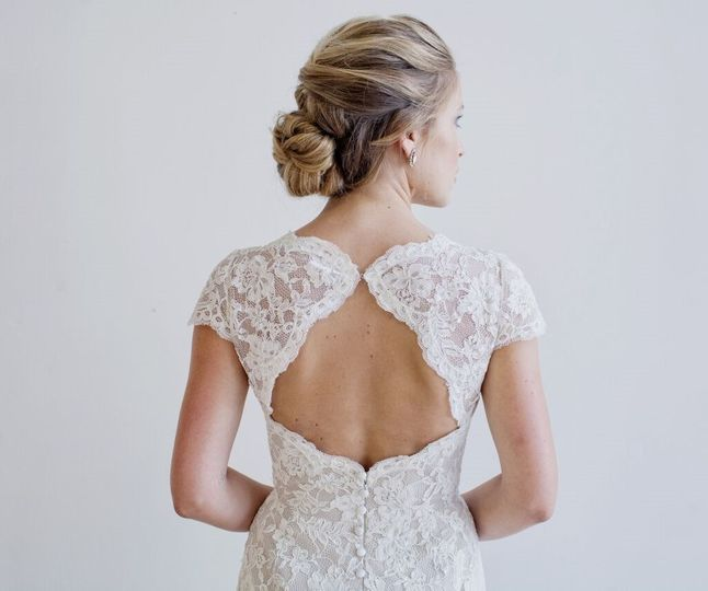 Short-sleeved backless lace dress