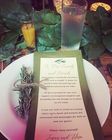Place setting rosemary