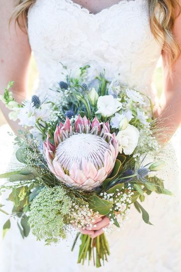Summer protea bridal bouquet