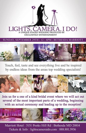 Don't miss Lights. Camera. I Do! on September 29th 2013! It's a unique staged wedding produced by...