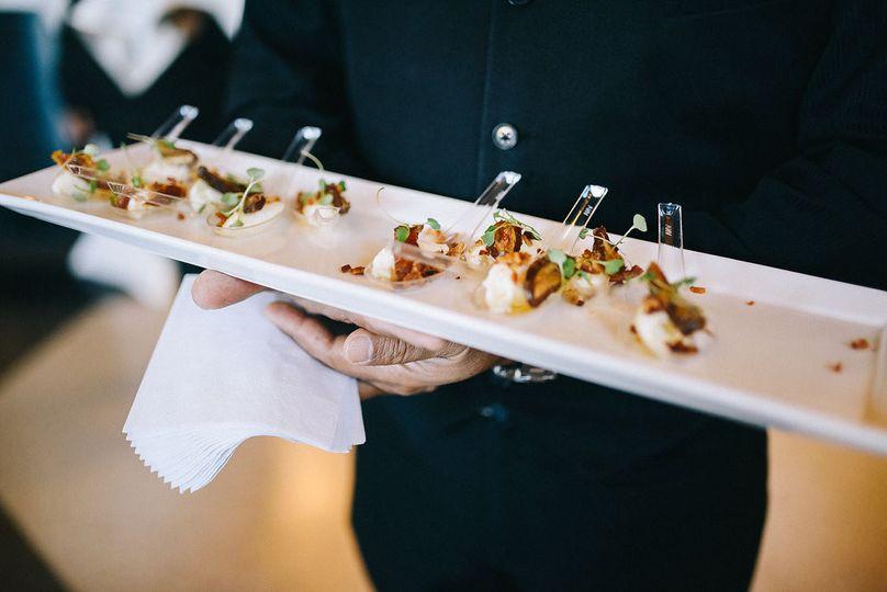 Passed Bite :: Feta Mousse / Black Currants / Apple Smoked Bacon / Honey / Arugula Sprouts  Photo:...