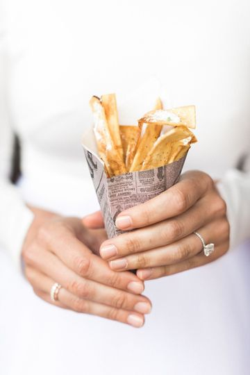 Homemade Potato Chips :: Dehydrated Blue Cheese / Bacon Powder / Lemon Pepper  Photo: Tyler...