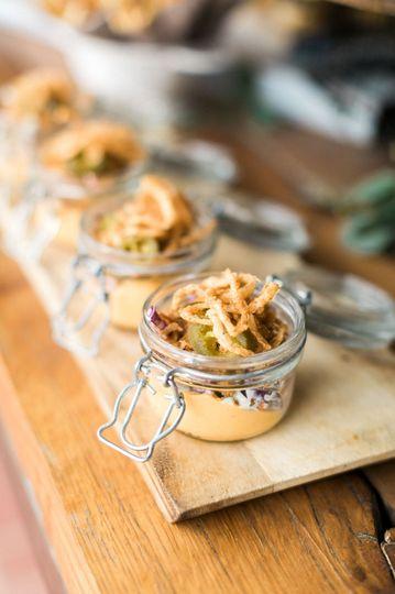BBQ Pork Jar :: Vanilla Bean Sweet Potato / Cider Slaw  Photo: Tyler + Lindsey