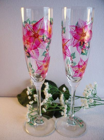 Schott Zwiesel crystal with red and gold poinsettias