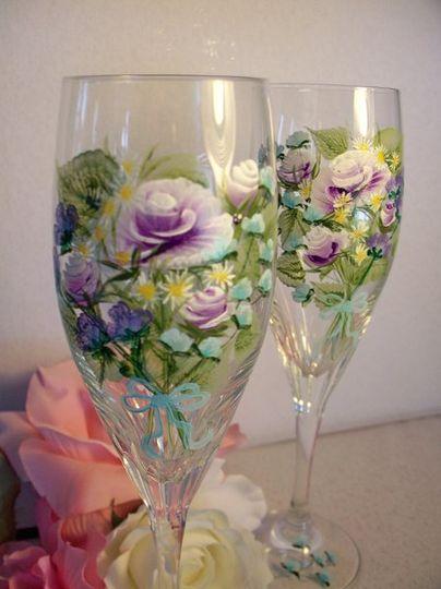 Purple bouquet on Schott Zwiesel crystal