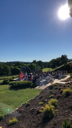 Our outdoor ceremony site has beautiful views of the course and surrounding mountains.