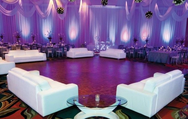 wedding dance floor white couches