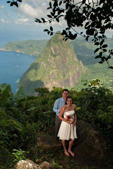 Formal shot at the top of Gros Piton in St Lucia