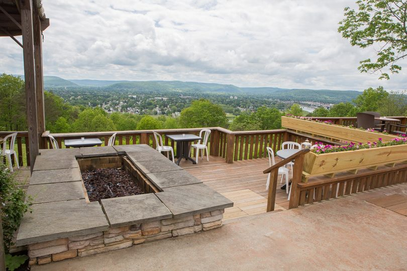 Our Stone Fire Pit and Deck