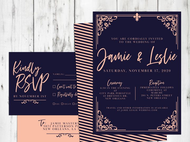 Tmx Wrought Iron Wedding Navy Staged 1 51 499102 158162302667077 New Orleans wedding invitation