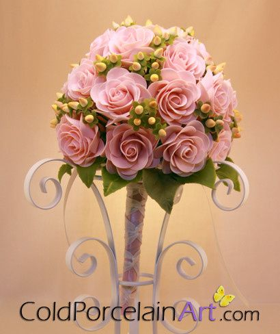 cold porcelain art weddings pink rose with mini buds bouquete 2