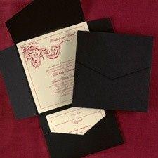 black and ecru pocked invitatio