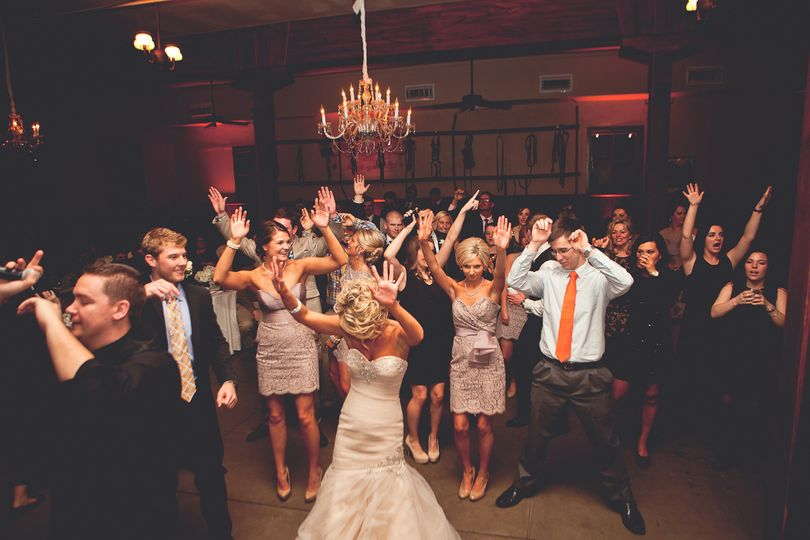 Dancing bride and their guests