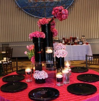 black round acrylic wedding charger plates rental, pink pintuck wedding linen tablecloth rental,...