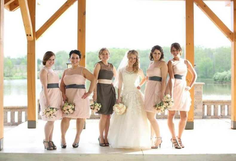 Bride, maid of honor, and bridesmaids