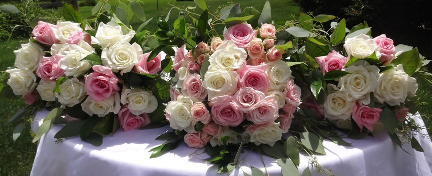 Pink and white arrangements