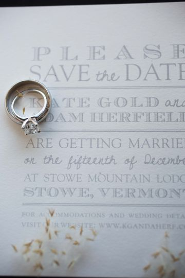 Wedding ring and invite